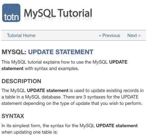 MySQL tutorial explains how to use the MySQL UPDATE statement - statement form