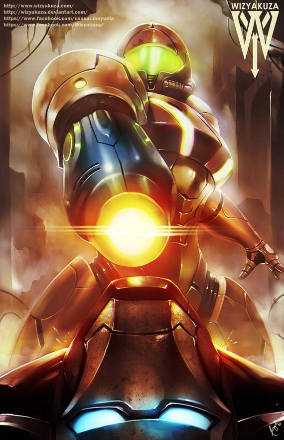 Samus Aran and Iron Man  Metroid and Marvel Crossover by Wizyakuza