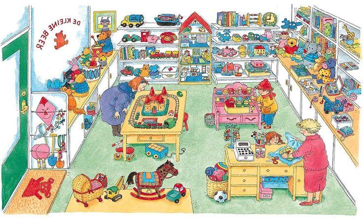Praatplaat Bas - Speelgoedwinkel  (Getekend door Dagmar Stam)