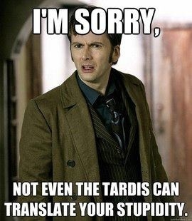 Doctor Who Tenth Doctor Im sorry, not even the tardis can translate your stupidity