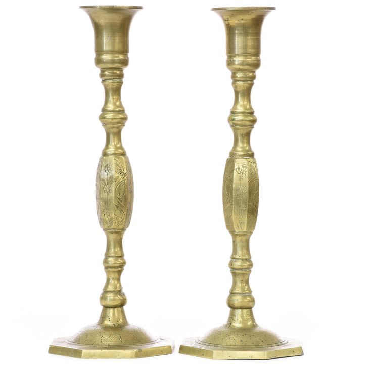 Candlesticks are one of those items that definitely deserve more love. Candles are a great way to add to the ambiance of a room or an event, and that's especially true with a pair of turned brass Chinese candlesticks such as these. #asian #decor #vases&candleholders #sandiegovintage #vintagefurniture