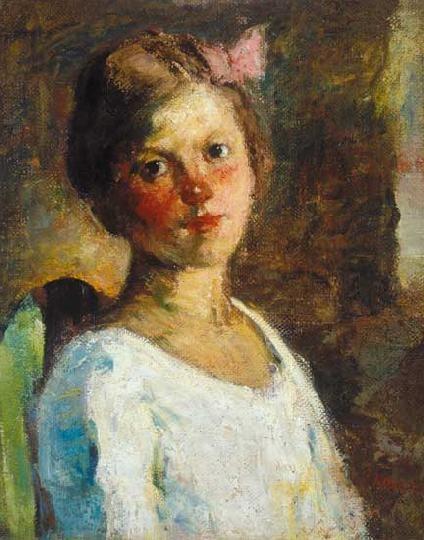 Koszta, József (1861-1949) Girl with ribbon