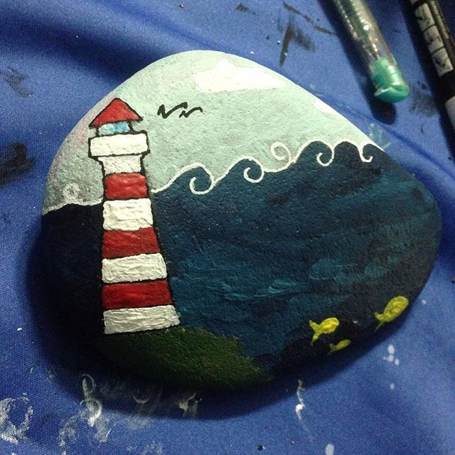 #lighthouse #sea #fish #cloud #handmade