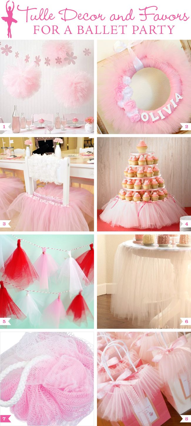 Bella's Birthday party: tulle decor and favor ideas for a ballet themed birthday party #ballet #balletparty #ballerina