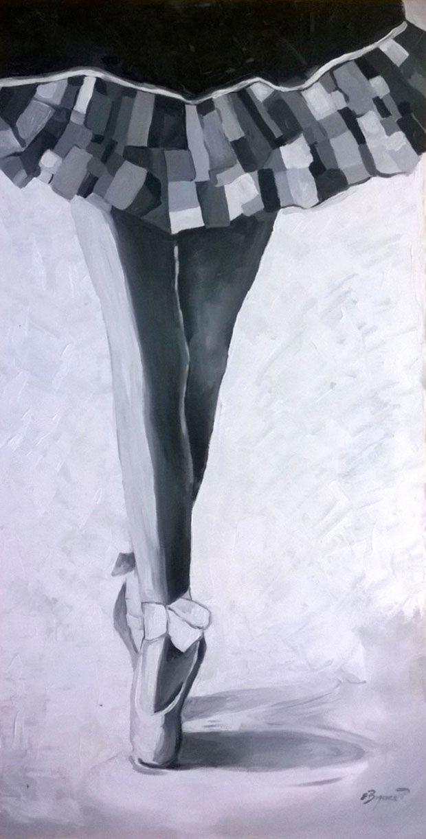 Nogi baletnicy -  czarno-biała inspiracja. Obraz akrylowy na płótnie. Impast. #obraz_akrylowy #impast #malarstwo_akrylowe