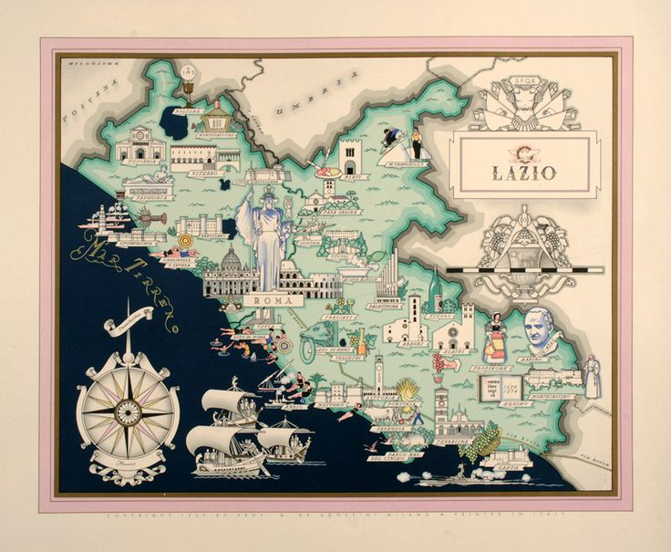 1939 This is one of a series of well executed poster maps for the regions of Italy. This image was created by Nicouline in 1939 and features the sights in the Lazio Region of Italy including its many sights -