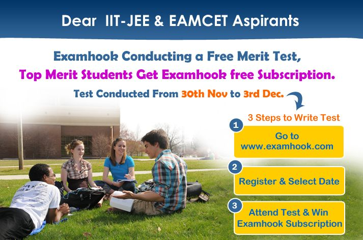 "Examhook conducts free online tests for IIT MAIN, IIT ADVANCE and EAMCET to boost the confidence of students. It's a great opportunity for the students to access their ability and preparedness for the real time exam. Enrol at "" http://examhook.com/ExamRegistration.aspx "" #merittest #examtest #testdrive #onlinetest #freetestdemo"