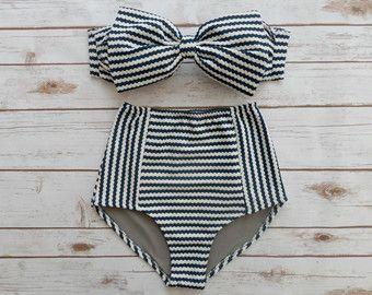 Bow Bandeau Bikini  Vintage Retro Style High Waisted by Bikiniboo