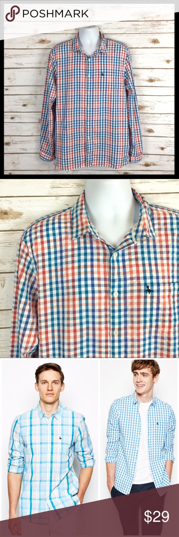 "jack wills // gingham check plaid seersucker shirt Perfect for the season! This shirt by Jack Wills has that classic seersucked (somewhat crinkled) texture that screams summer. Red, blue and white gingham check pattern. 100% cotton. Great preowned condition. Underarm to underarm measures 24"" across lying flat. Jack Wills Shirts Casual Button Down Shirts"