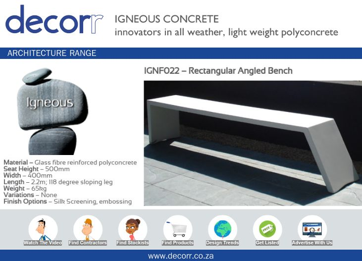 #DecorrOutdoor Architecture Range: Angled Bench at http://www.decorr.co.za/igneous-concrete …  #decorrpromo