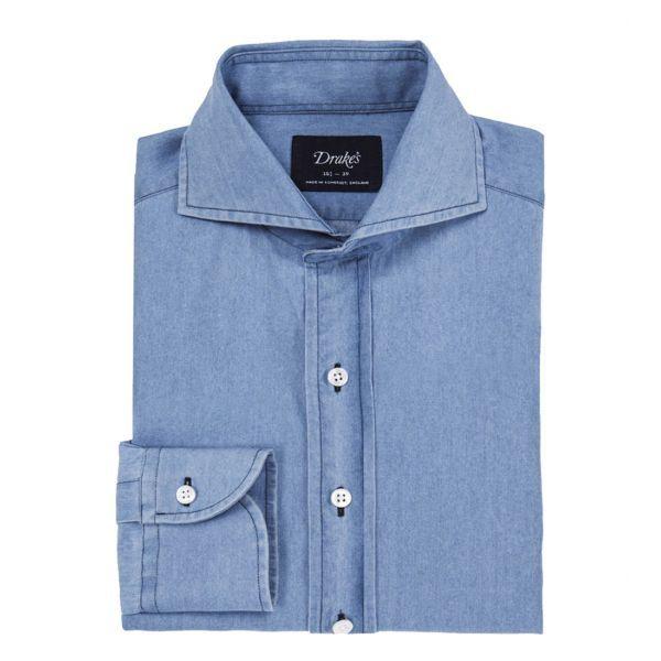 Powder Blue Washed Denim Cutaway Collar Shirt