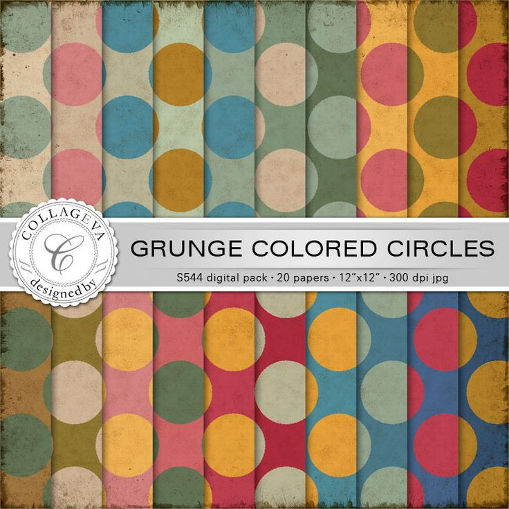 """Grunge Colored Circles Digital Paper Pack, 20 printable sheets, 12""""x12"""" Large Polka dots Vintage colors green ocher beige red blue (S544) by collageva on Etsy"""