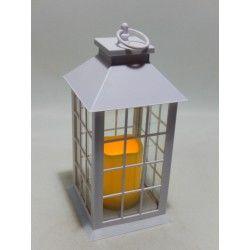 FAROL CUADRADO BLANCO 27cm C/VELA LED