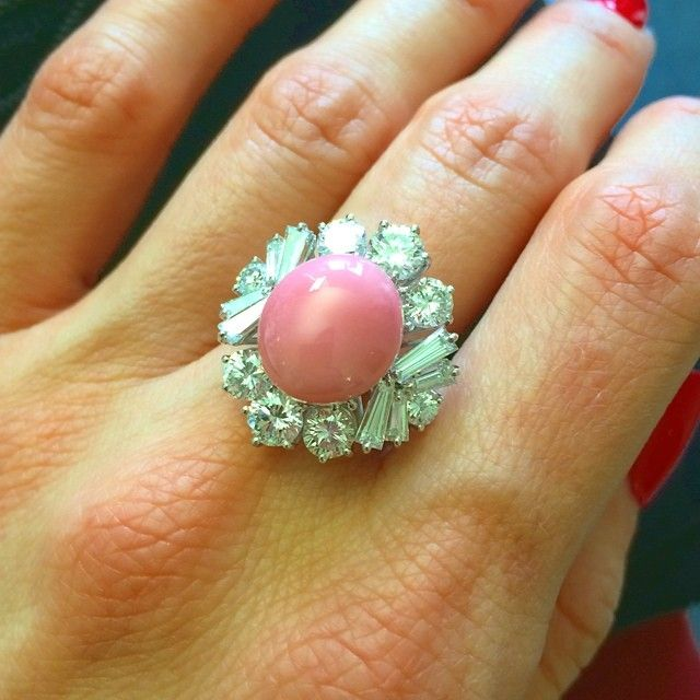 Vintage conch pearl ring #conchpearl
