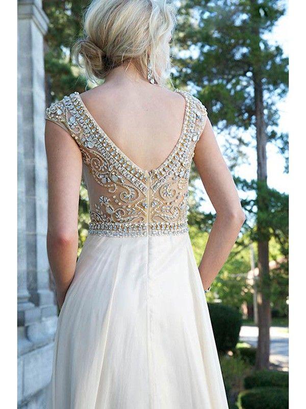 Scoop A-line/Princess Short Sleeves Beading Rhinestone Floor-length Dress