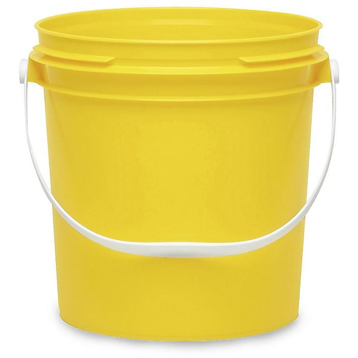 Plastic Pail With Plastic Handle 1 Gallon Yellow S 17943y Uline In 2020 Plastic Pail Pail Kitchen Compost Bin
