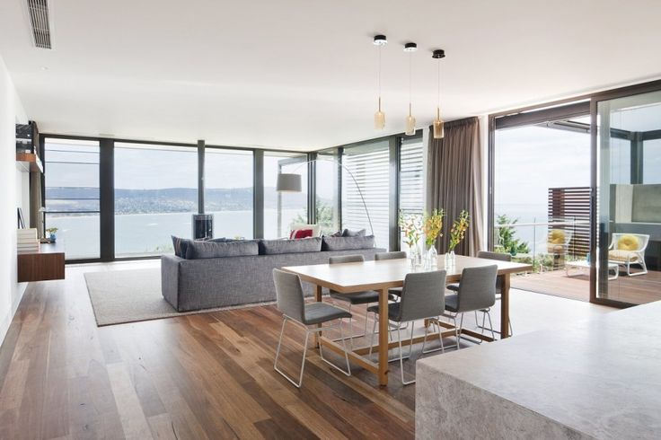 Unique Modern Residence in Australia: Gorgeous Hill House Design Interior With Open Floor Decor Used Wooden Flooring And Minimalist Furnitur...