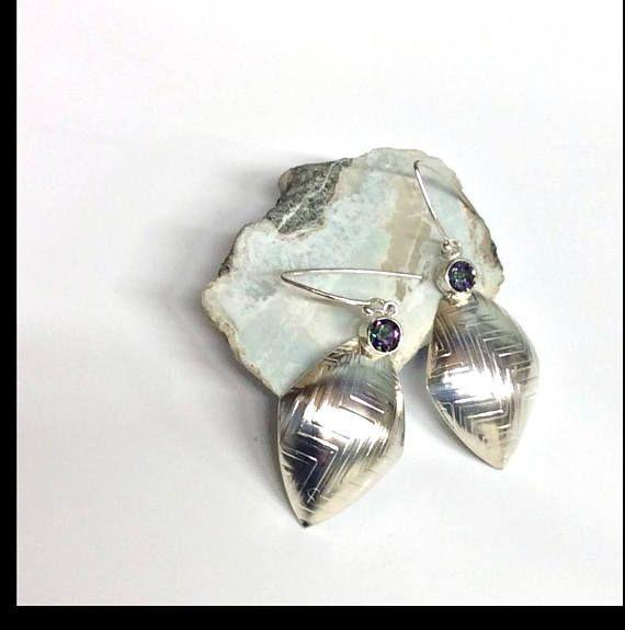 OOAK Sterling silver Mystic Topaz earrings modern contemporary