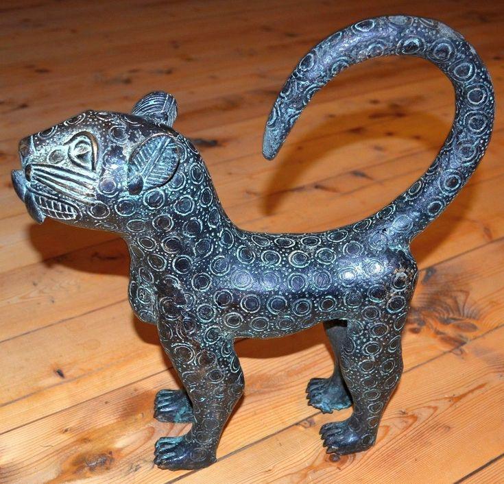 Old African Benin Kingdom Bronze Standing Leopard Lost Wax Statue Nigeria Africa #Benin