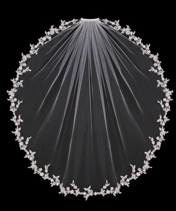 Flower Vine Fingertip Wedding Veil