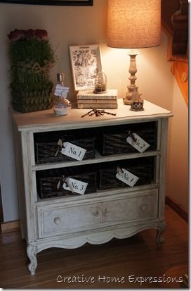 dresser turned into foyer table/storage
