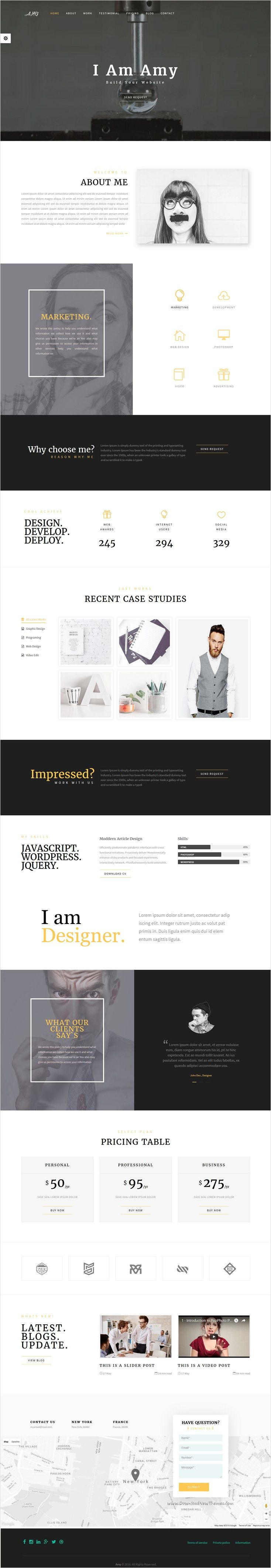 Amy is wonderful 3 in 1 Bootstrap #HTML template for corporate, business, #freelancer and #portfolio website download now ⇨ https://themeforest.net/item/amy-responsive-corporate-business-portfolio-template/17163764?ref=Datasata