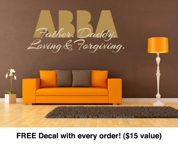 Religious Wall Decals. ABBA (22 wide x 10.7 tall) CODE 051 Scripture Vinyl