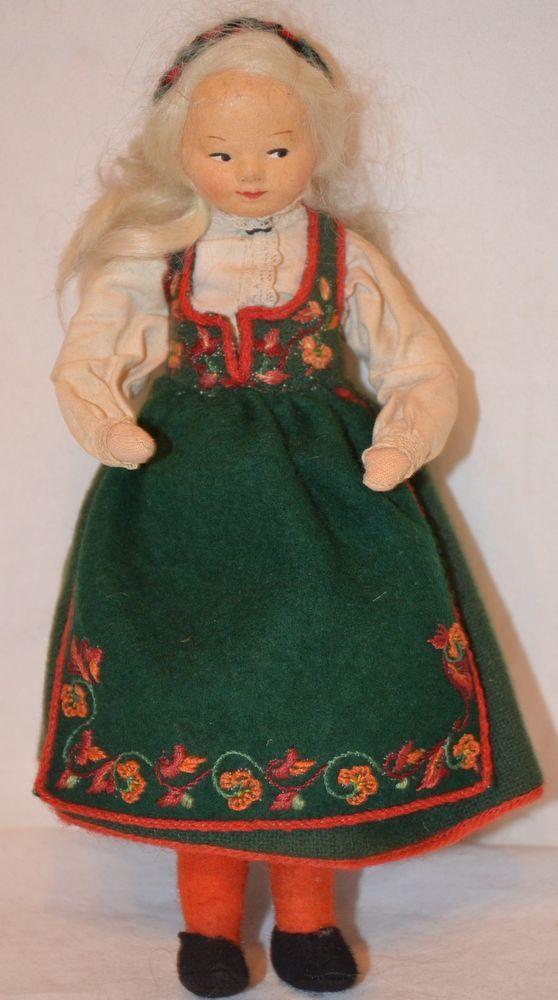 "Vintage 7.5"" RONNAUG PETTERSSEN West Telemark Girl Doll NORWEGIAN NORWAY cloth"