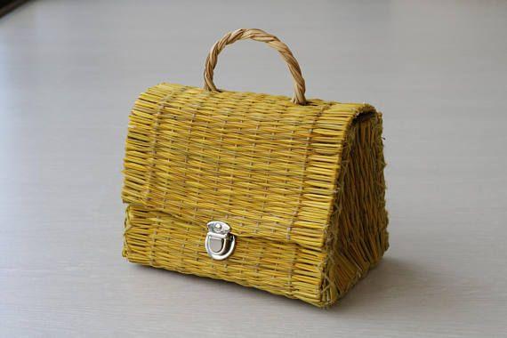 Reed Bag, traditional portuguese bag, handmade, handbag, summer basket, small basket, yellow.
