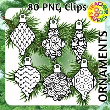 Holiday Ornaments Coloring Clip Art Set Commercial and Personal Use