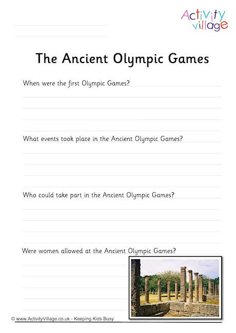 Ancient Olympic Games Worksheet