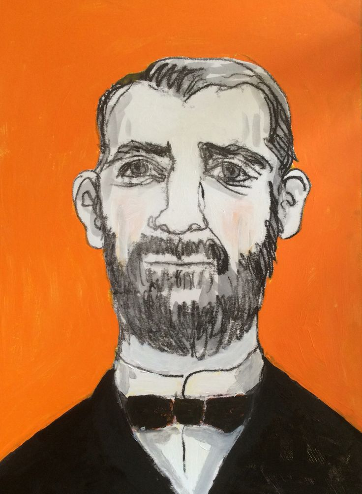 Stage 2 of the bearded man monotype. I have added acrylic paint. Next I'm going to sand the acrylic with fine sandpaper (wish me luck), add dilute glazing layer(s) and then embellish it with colour pencil.