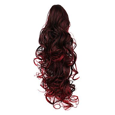 Dark Red Long Curly Ponytail Synthetic Hair Extensions