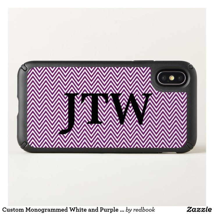 Custom Monogram White & Purple Chevron Phone Case