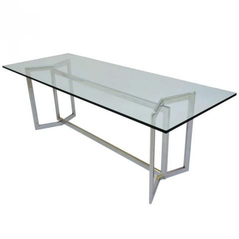 italian design 1970u0027s glass and steel base dining table modernism