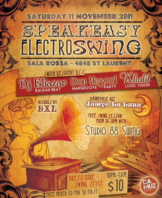 Speakeasy #5 Saturday 11 November @Dale Collins Rossa