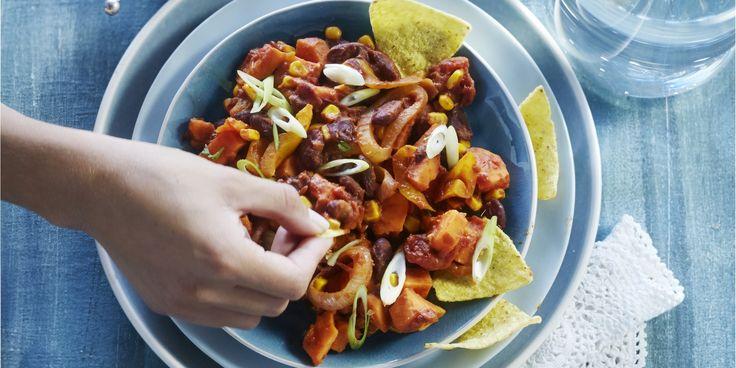 Boodschappen - Chili met zoete aardappel
