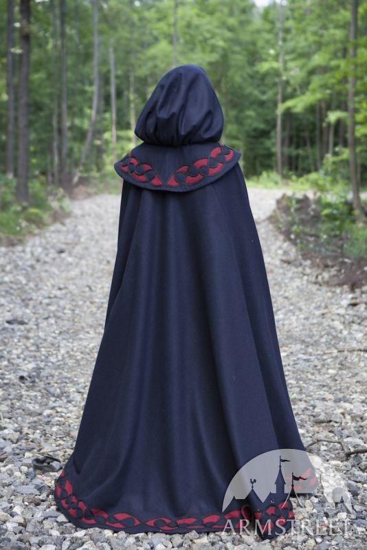 Cape médiévale en laine «Ne m'oublie pas». Disponible en : laine noire, laine bleue foncée :: ArmStreet