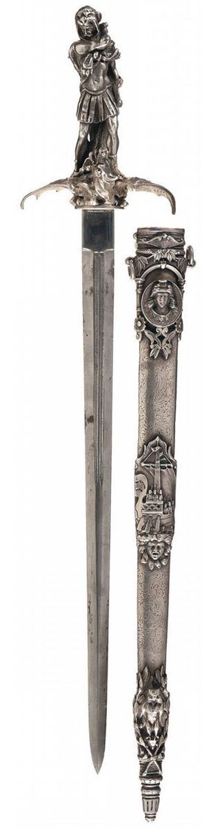 Superb Exhibition Grade French Hunting Sword with Finely Engraved Silver Sheath and Figural Silver H. Measuring 25 inches in overall length, this sword is equipped with a double edged spear point blade, 18 1/2 inches long, with a pair of deep, thin 7 1/2 inch fullers on each side, and a square ricasso deeply stamped with a floral proof on the reverse. The blade quality is very high, perhaps from a combat weapon of the late 1600s or 1700s. iCollector.com