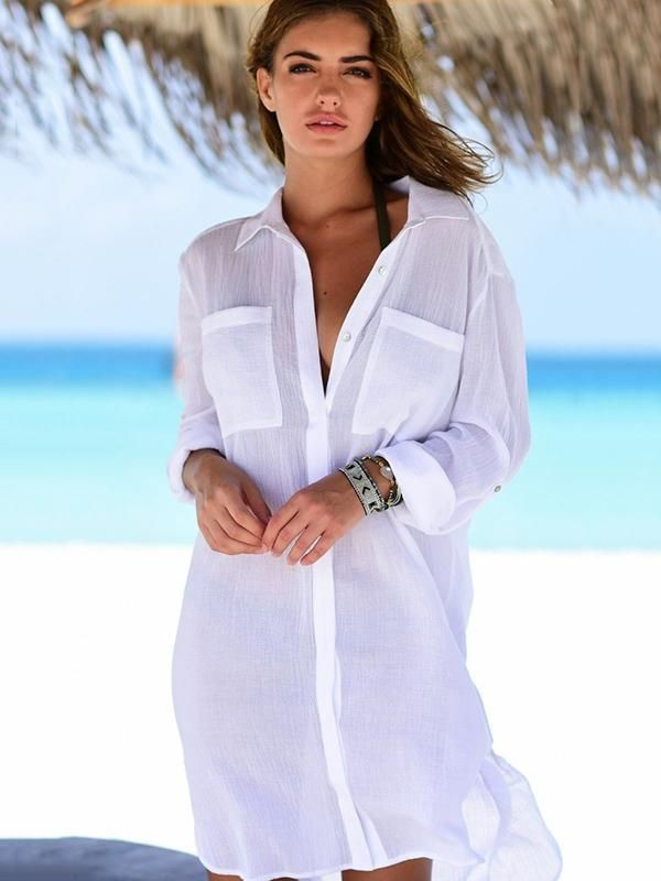Bikini Beach Wear Cover Up White Sarong Shirt Dress 10-12 Swimwear Beachwear