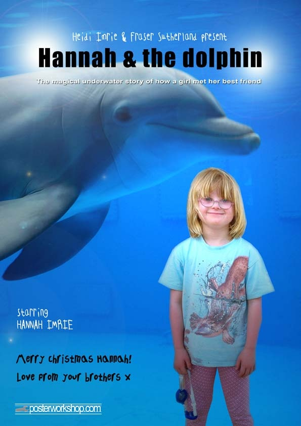 KIDS DOLPHIN MOVIE POSTER GIFT  From $45.00  Join the happiest animal under the sea and discover their playful world.  Star in this Dolphin Movie Poster  and dive into your fun underwater experience.  Photo Tip: This poster works best if your Star is wearing something summery (ie. preferably no winter clothes) and imagines themselves diving into the waters with their dolphin friend.