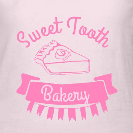 Sweet Tooth Bakery t-shirt template and design idea. Make your own t-shirt design online with art, fonts, and choose the t-shirt product for your print.