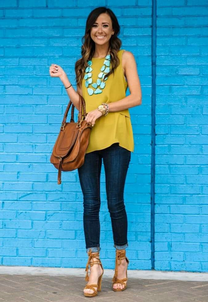 I wouldn't have thought of turquoise and mustard, but I like it.  No heels and preferred not sleeveless, though.