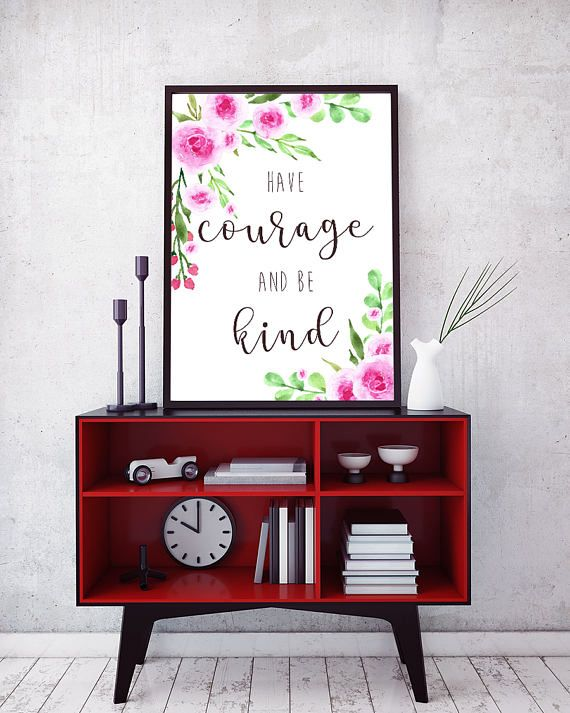 Printable wall art - Have Courage and Be Kind - lettering with watercolor roses by Amistyle Art Studio on Etsy