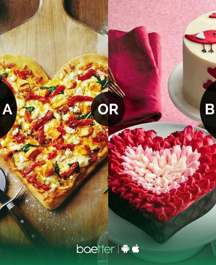 What would you rather eat on Valentine's Day #pizza or #cake? Vote on BAEtter App now  #cake #hearts #love #red #pizza #foodgasm #foodie #photography