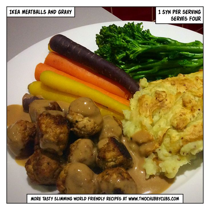 These Slimming World friendly IKEA meatballs come in at 1 syn per serving and that includes the bloody lovely gravy! Easy to make, promise. Remember, at www.twochubbycubs.com we post a new Slimming World recipe nearly every day. Our aim is good food, low in syns and served with enough laughs to make this dieting business worthwhile. Please share our recipes far and wide! We've also got a facebook group at www.facebook.com/twochubbycubs - enjoy!