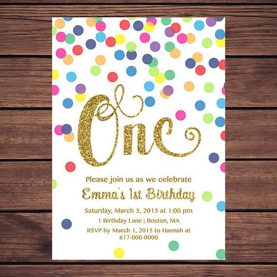 Rainbow Gold 1st Birthday Invitation Girl by DesignedbyGeorgette