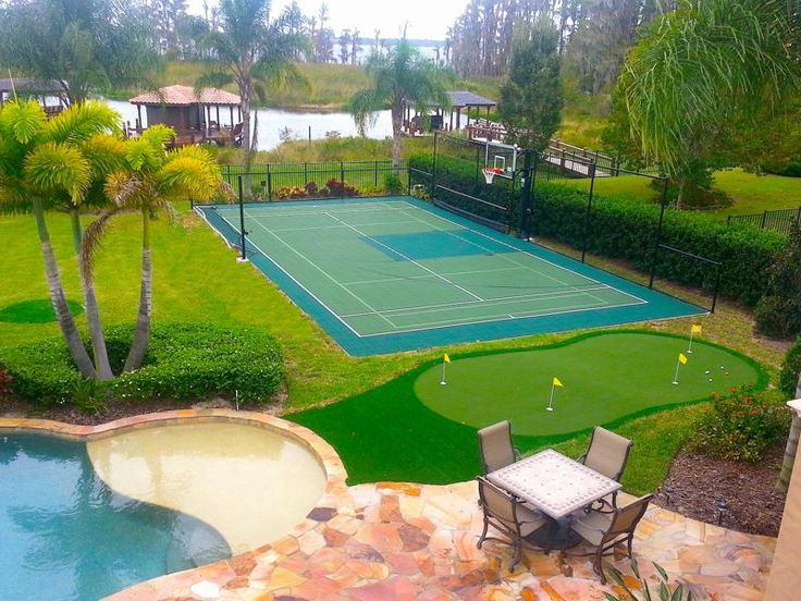 56 best backyard images on pinterest nature backyard for Backyard sport court ideas