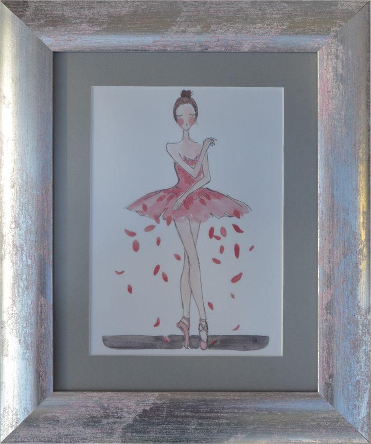 Oprawiona grafika baletnicy (pracownia oprawiamy w ramy)