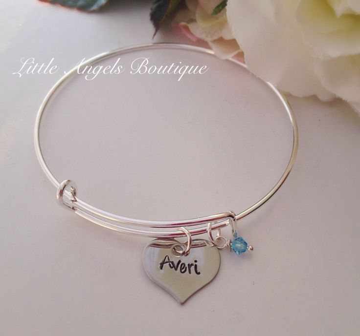 New mommy mother Bangle Bracelet with personalized heart with baby name baby feet charm Swarvoski Crystal birthstone charm by littleangelsboutique on Etsy https://www.etsy.com/listing/223736870/new-mommy-mother-bangle-bracelet-with